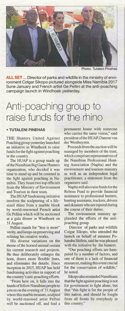 20170725 - The Namibian - Anti-Poaching group to raise funds for the rhino-page-001