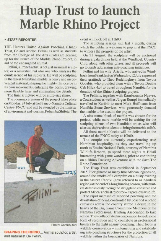 HUAP Trust to launch Marble Rhino Project - The Namibian - 18 July 2017-page-001